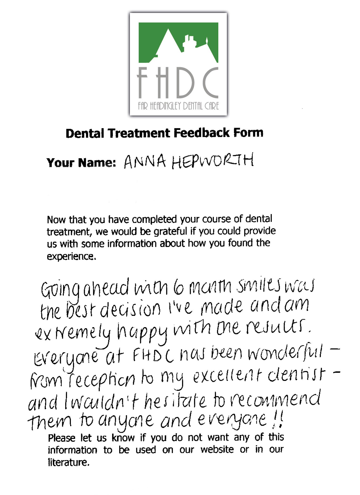 Six Month Smiles Feedback